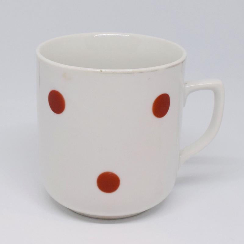 チェコ シンプル水玉マグカップ 赤水玉 印なし
