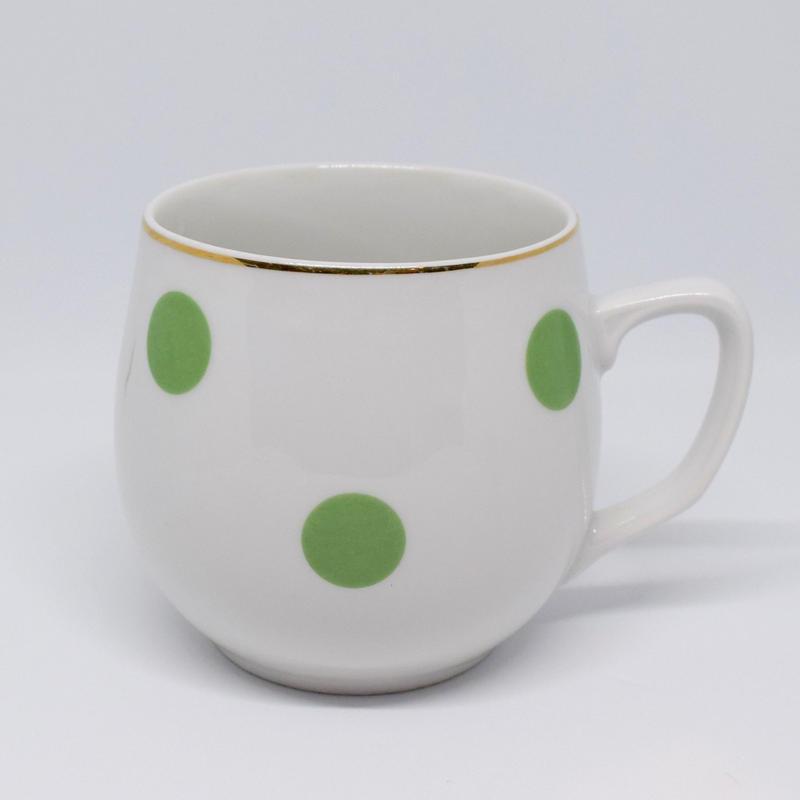 チェコ ボヘミア社 水玉マグカップ 黄緑