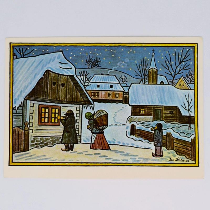 チェコ ポストカード ヨゼフ・ラダ 雪景色 夜