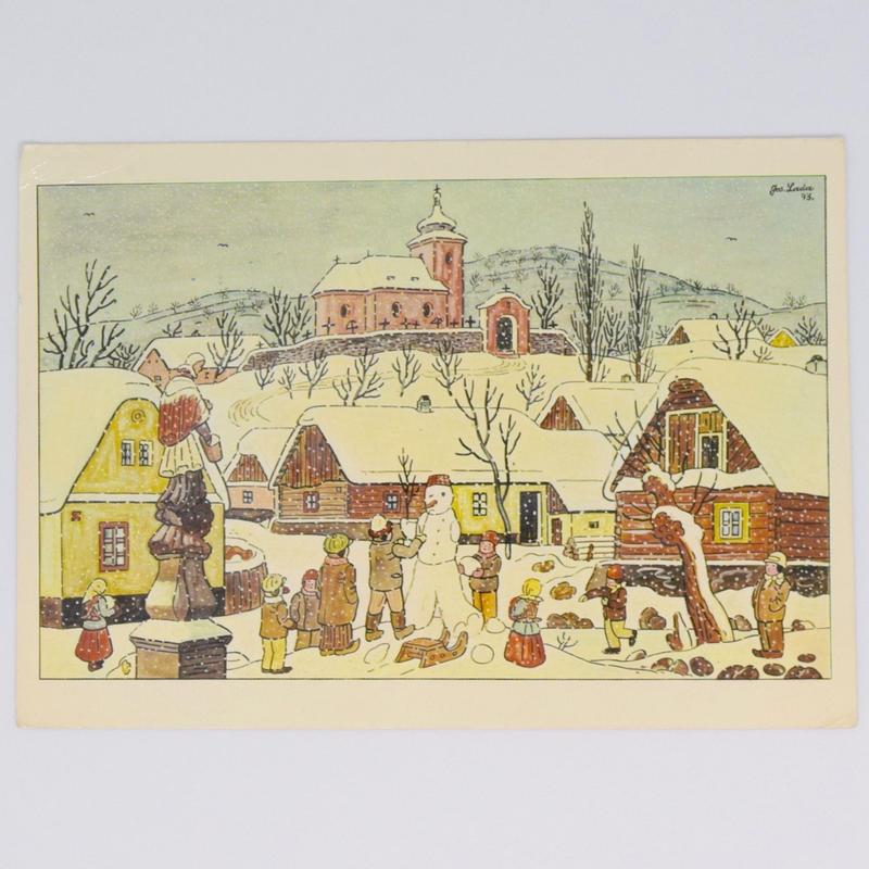 チェコ ポストカード ヨゼフ・ラダ 雪景色 雪だるまをつくる子どもたち