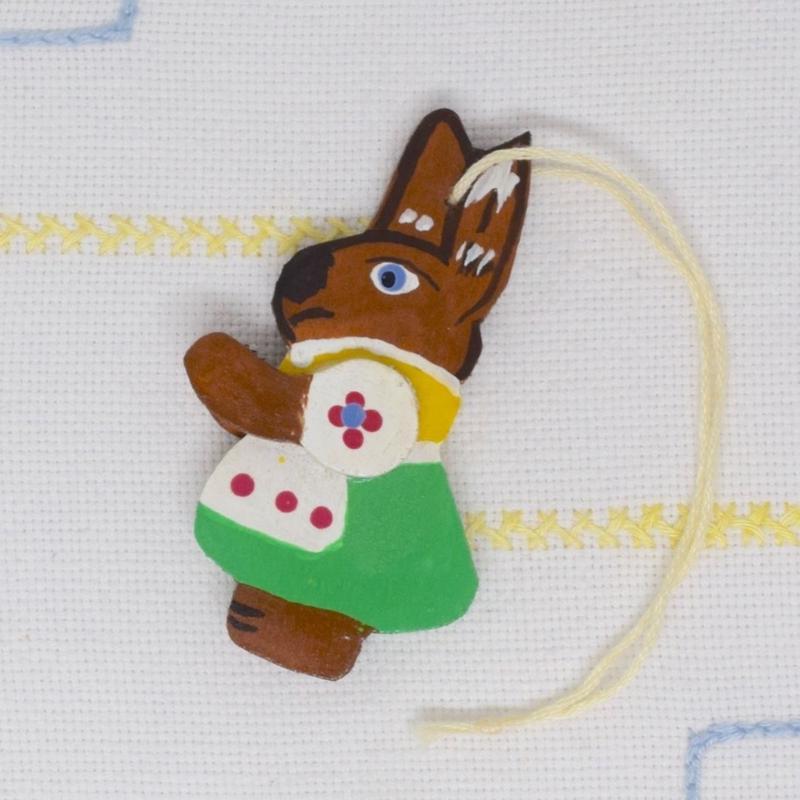 ドイツ ウサギのオーナメント 緑スカート
