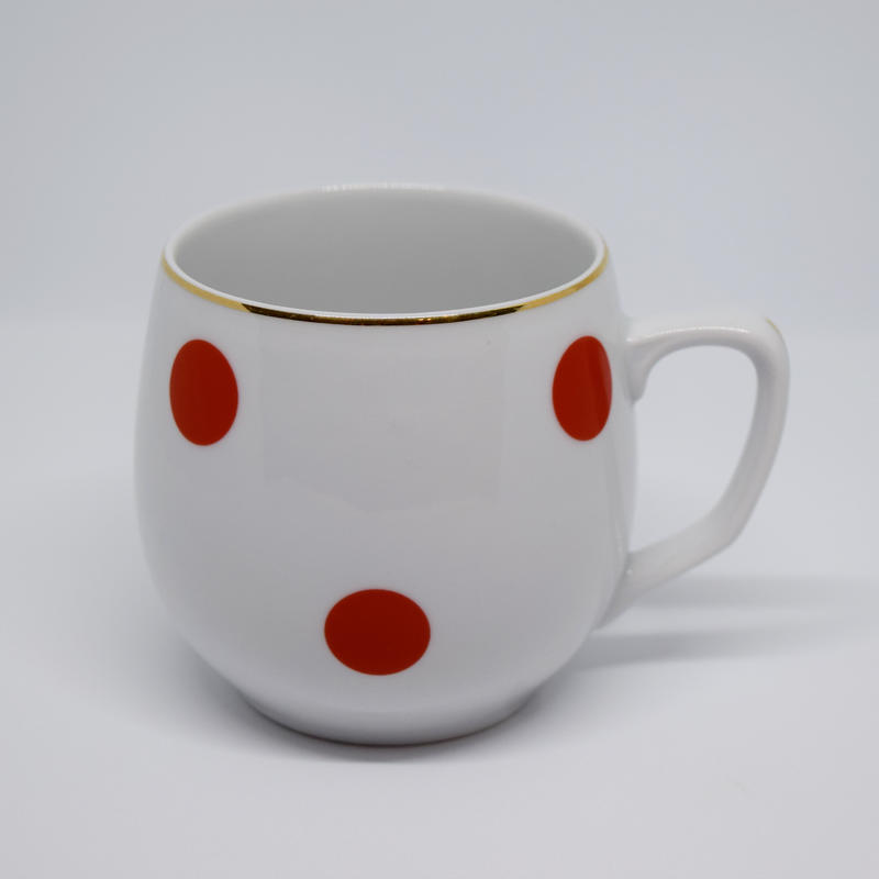チェコ ボヘミア社 水玉マグカップ 赤