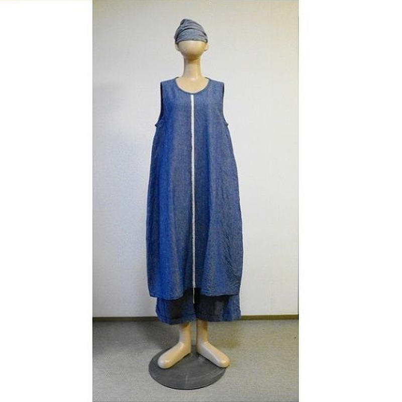 コットンリネンダンガリー オーブジャンパースカート
