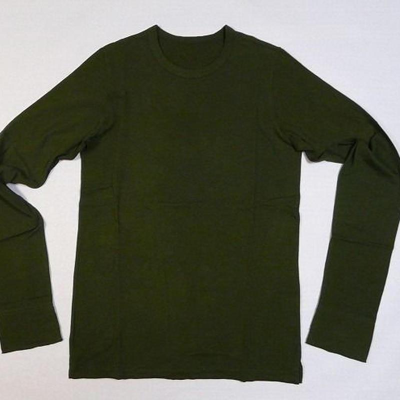 【訳あり80%Off!!】 ¥9030→¥1806  アスペロカード天竺 ラウンドネック長袖Tシャツ オリーブ