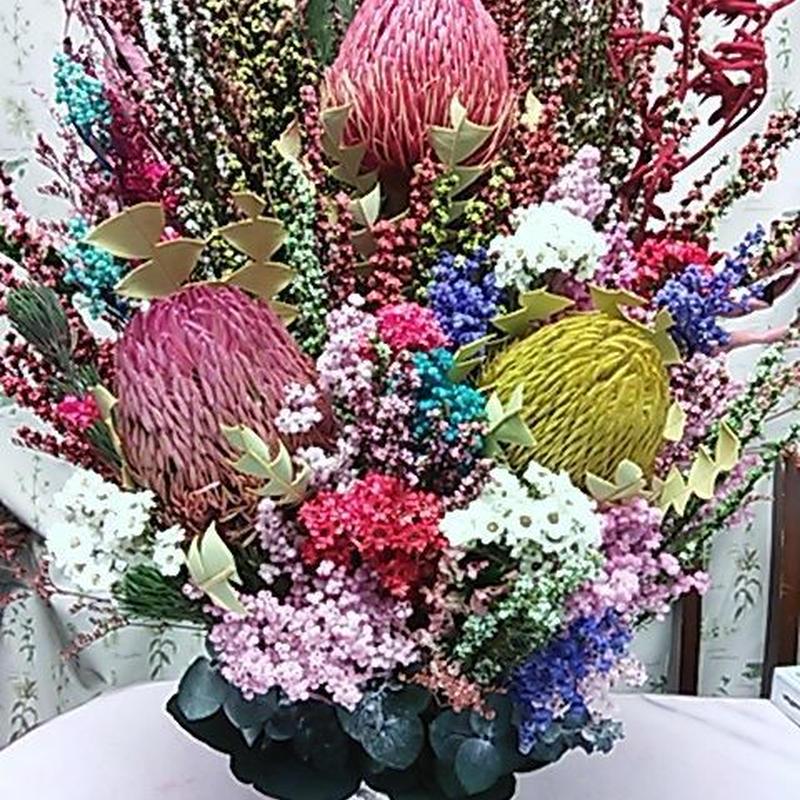 いつかは飾りたい大きなアレンジメント☆メッセージをお伺いして制作☆おしゃれな器のアレンジメント・お祝い・ブライダル・母の日にも最適!! 珍しいオーストラリアン・プリザーブド