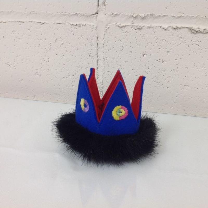 フェルト王冠ミニファー付ブルー