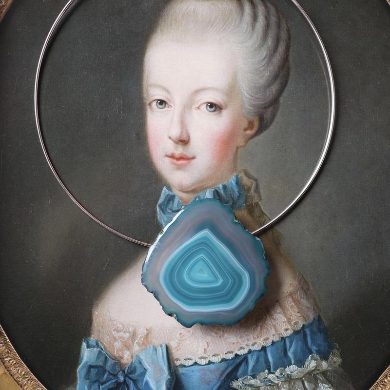 Choker necklace  silver/blue