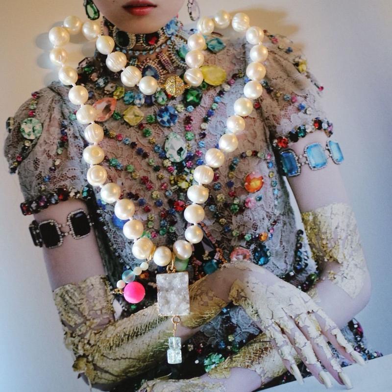 Pearl color agate necklace 2color