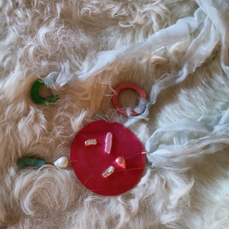 手染めsilk ribbon/ shell necklace 4color