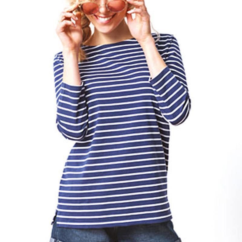LEMAHIEU   フランス製・7分袖ボートネックTシャツ(L82211)