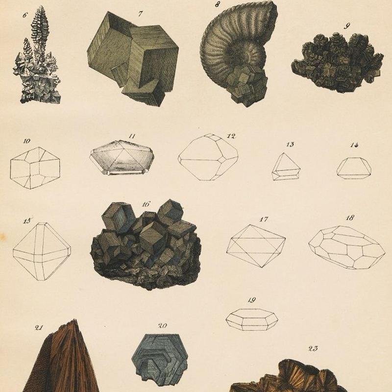 1878年鉱物画④<ドイツ>◆ アンティーク・クロモリトグラフ