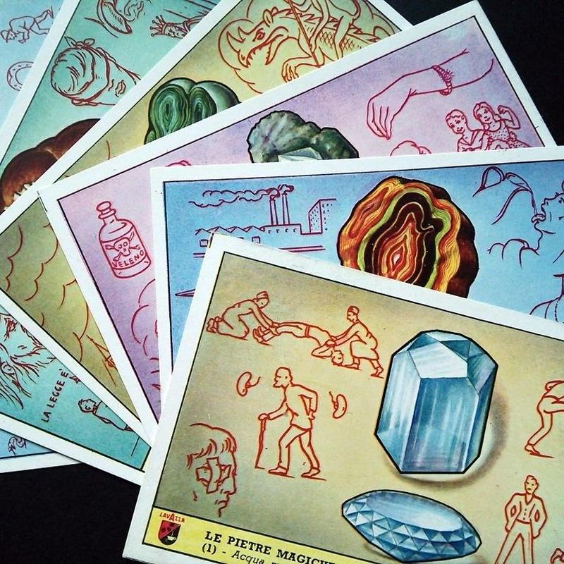 1959年イタリア◆魔法の石6種アンティーク・ビンテージカード