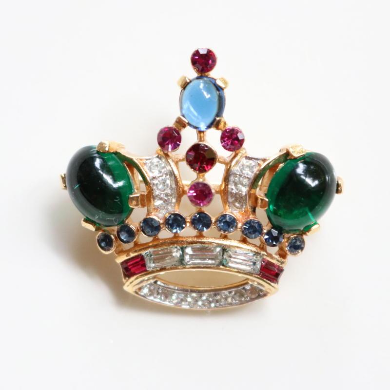 CROWN TRIFARI  クラウントリファリ/1950-60's  王冠のヴィンテージブローチ