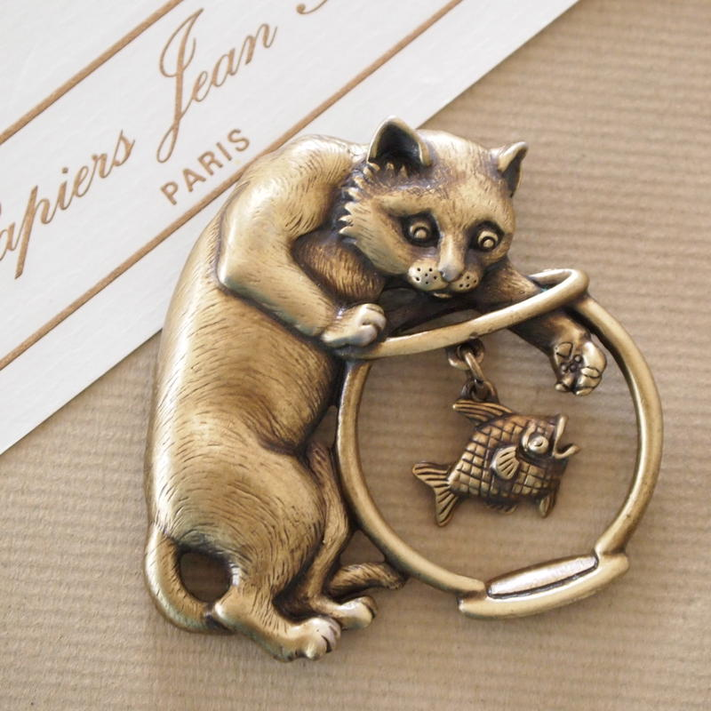 JJ ヴィンテージブローチ 猫と金魚(Bronze)