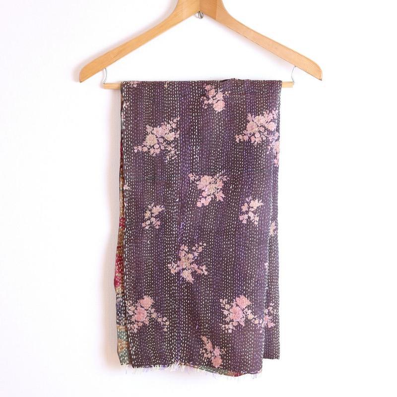 インドシルクストール カンタ刺繍 ココアブラウンC