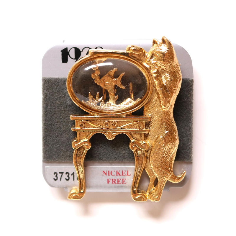 1928 ヴィンテージブローチ 猫と金魚鉢 4 デッドストック