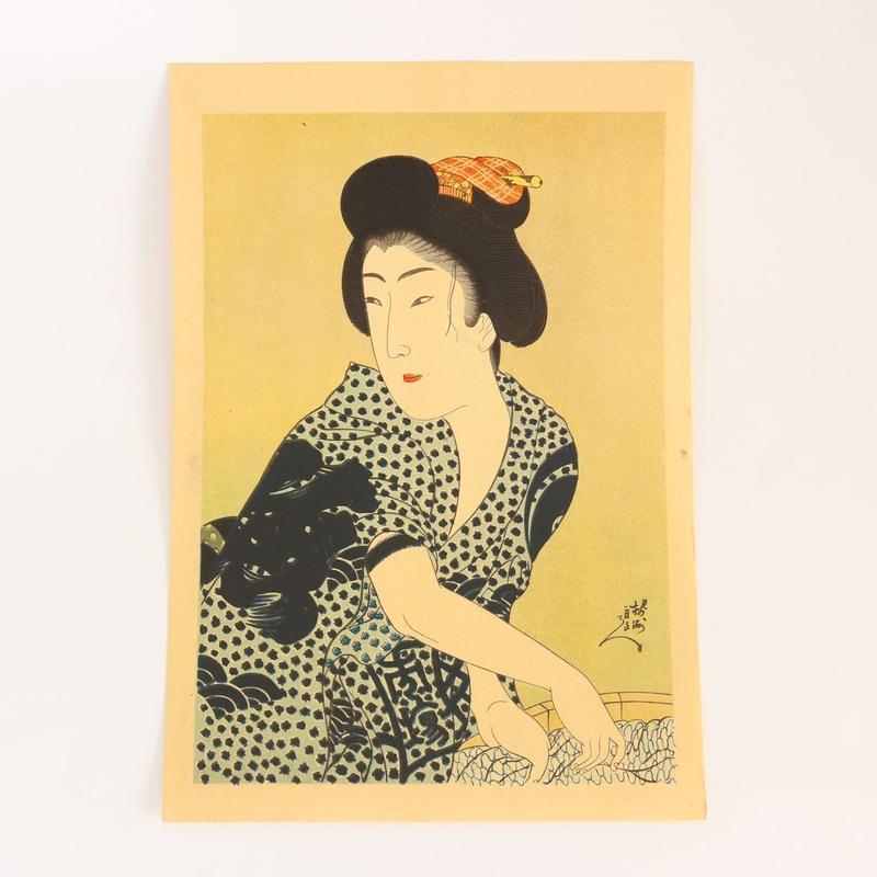ヴィンテージ浮世絵ポスター Printed in 1937 A洗濯中の女性/B阿づま源氏