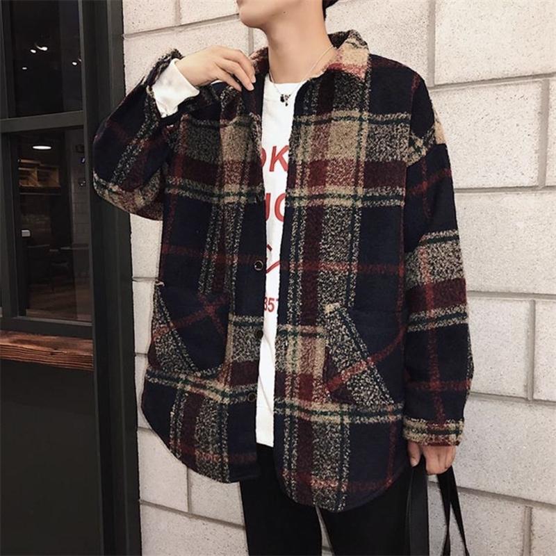 チェックシャツコート