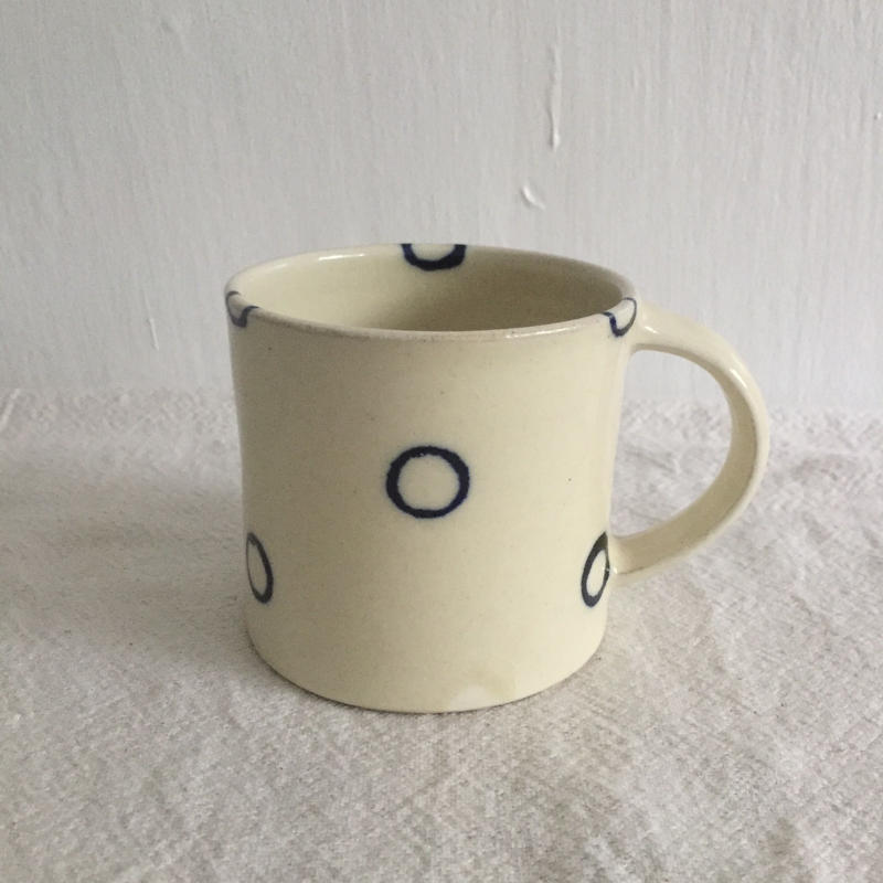 宮城陶器 マグカップ  水玉