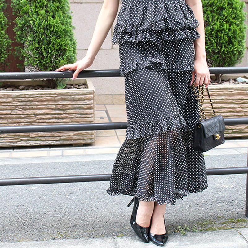【pour Mademoiselle】ドットシースルースカート ブラック