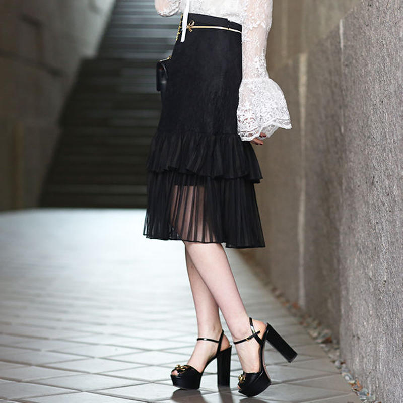 【pour Mademoiselle】レースプリーツスカート ホワイト/ブラック