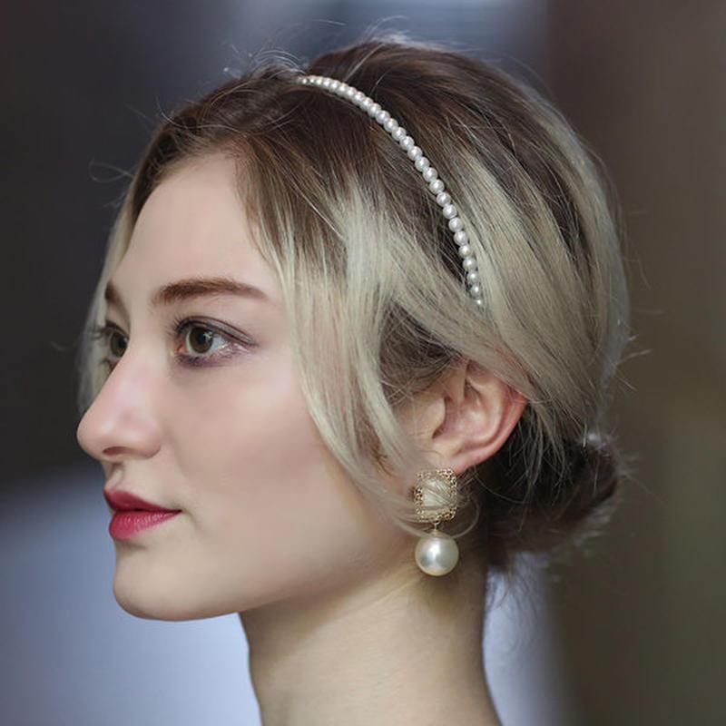 【pour Mademoiselle】パールスクエアストーンピアス