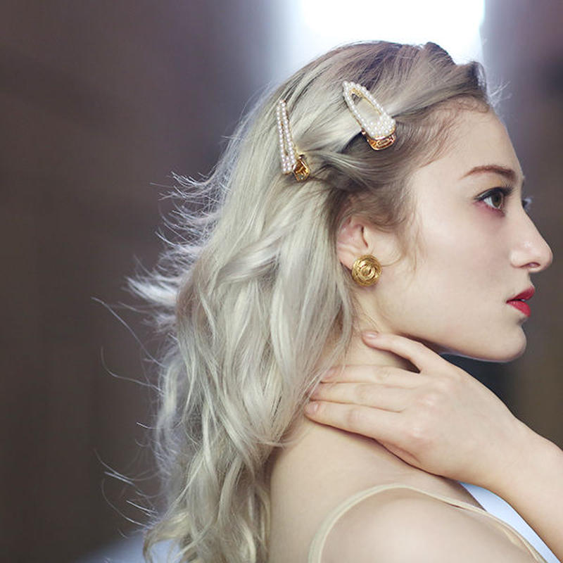 【pour Mademoiselle】スリムパールヘアクリップ