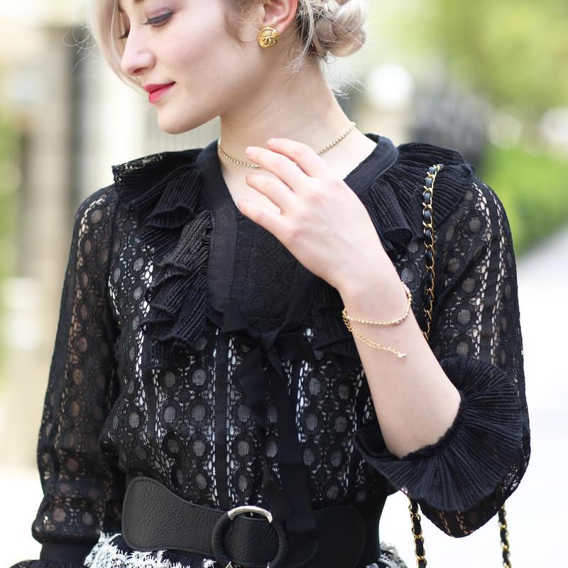 【pour Mademoiselle】フリルアームシースループルオーバー ブラック