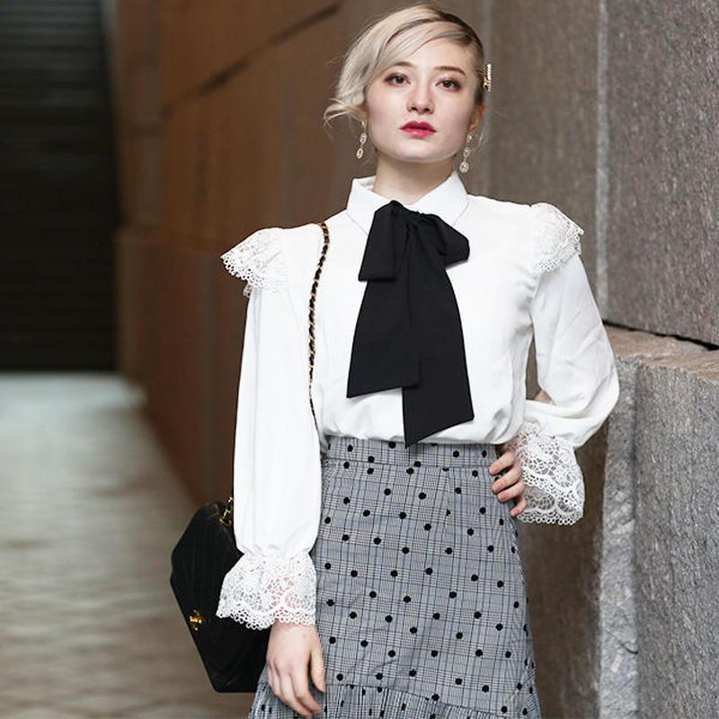 【pour Mademoiselle】フラワーレースボウタイブラウス ホワイト