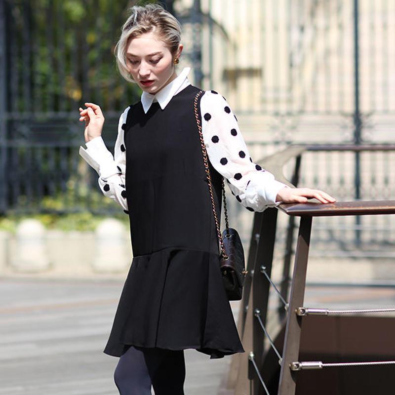 【pour Mademoiselle】アームドットシースルーワンピース ブラック/ホワイト