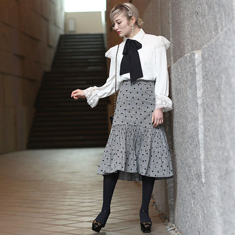 【pour Mademoiselle】ドットチェックペプラムスカート