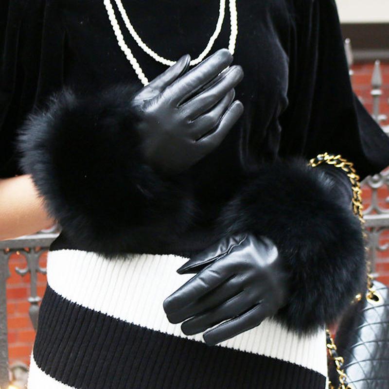 【pour Mademoiselle】フォックスファーグローブ ブラック
