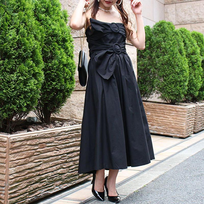【pour Mademoiselle】ベアトップワンピース ブラック