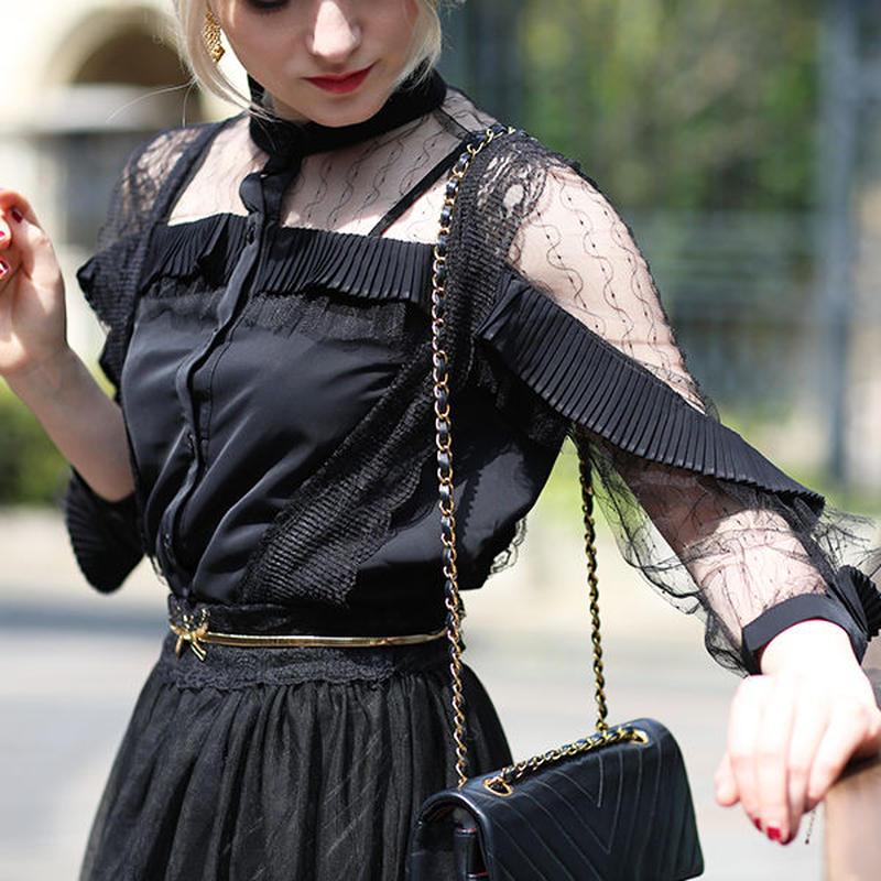 【pour Mademoiselle】フリルデコルテシースルーブラウス ブラック