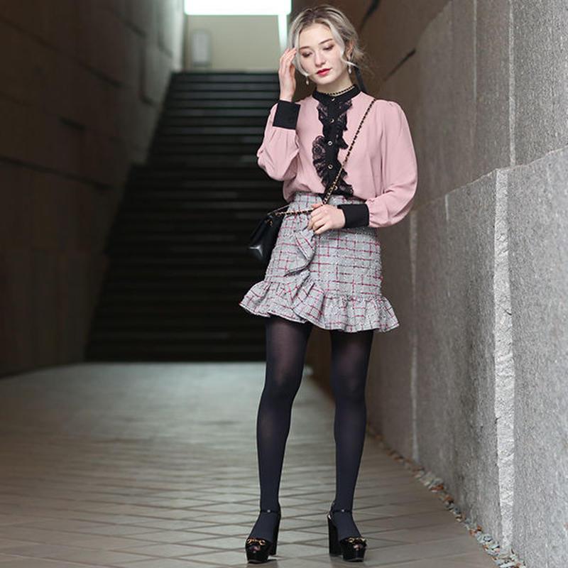 【pour Mademoiselle】チェックフリルミニスカート ピンク