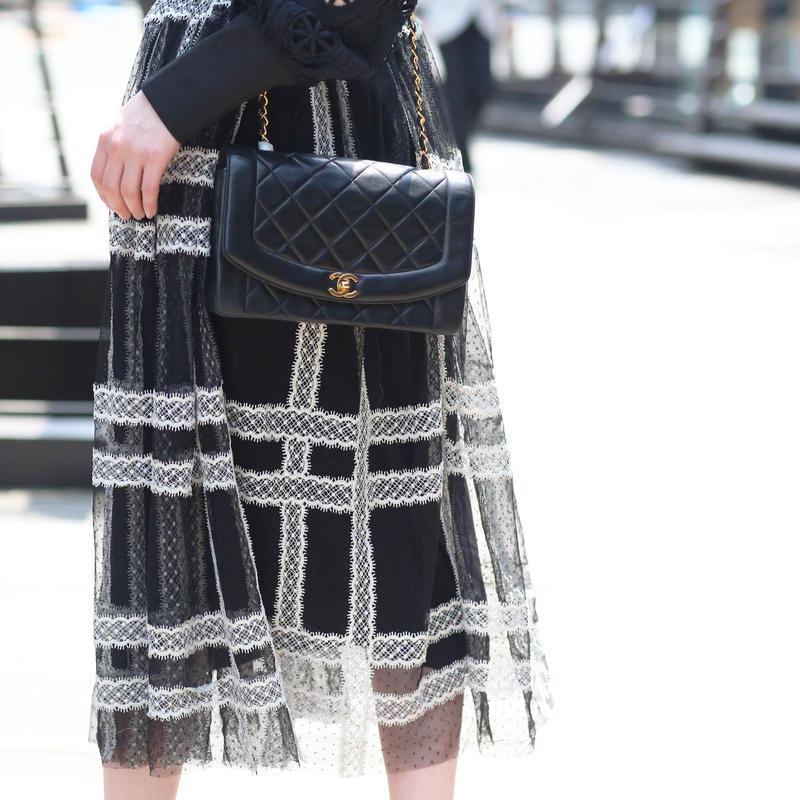 【pour Mademoiselle】レースドットシースルースカート ブラック