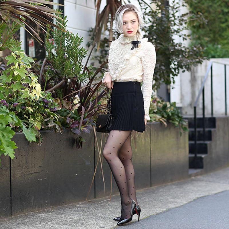 【pour Mademoiselle】プリーツスカートミニ ブラック