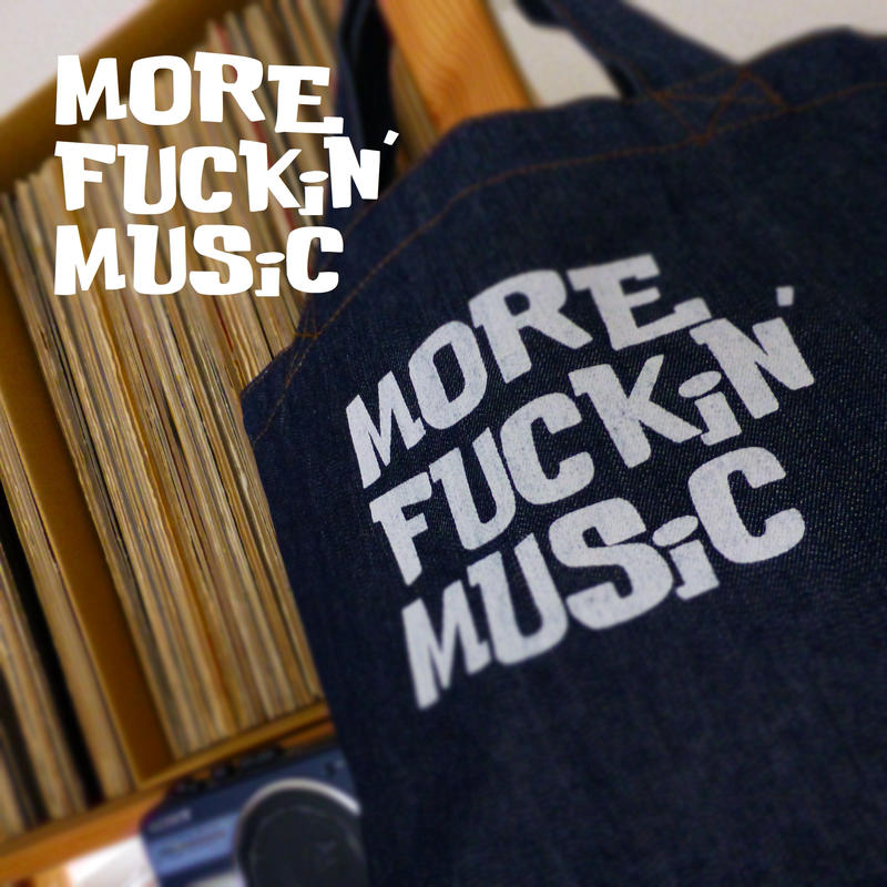 TOTEBAG DENiM 13.0oz - MORE FUCKiN' MUSiC - #DARKBLUE x WHiTE -