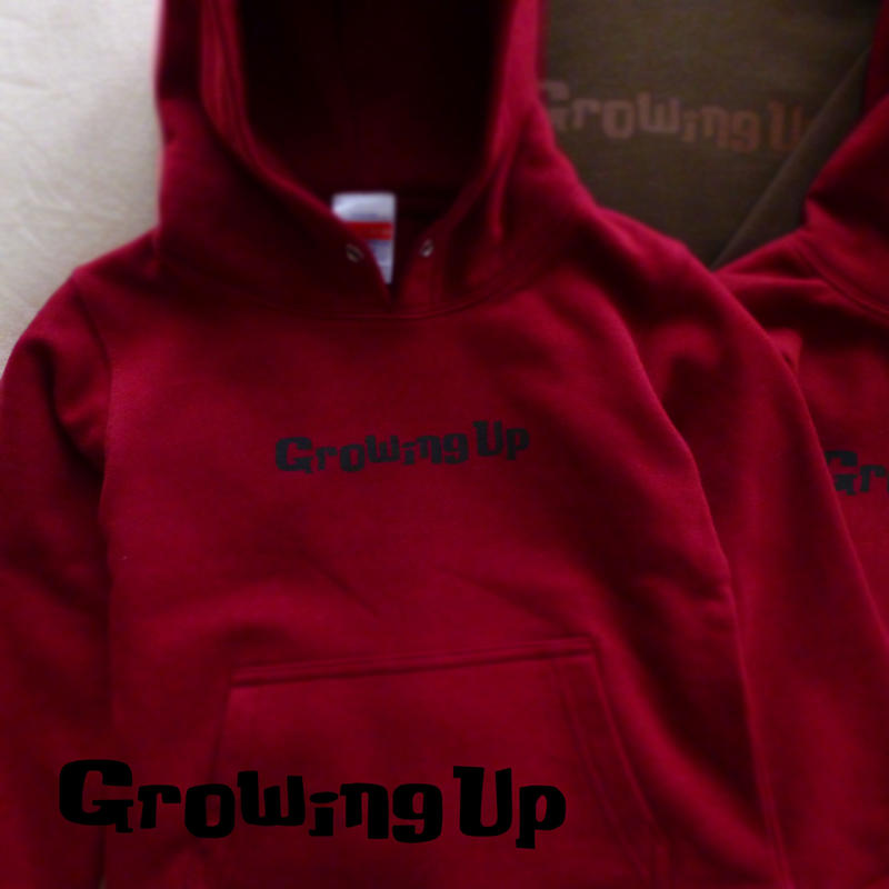 HOODED SWEAT PULLOVER for KiDS 110cm - Growing Up - #BURGUNDY x BLACK