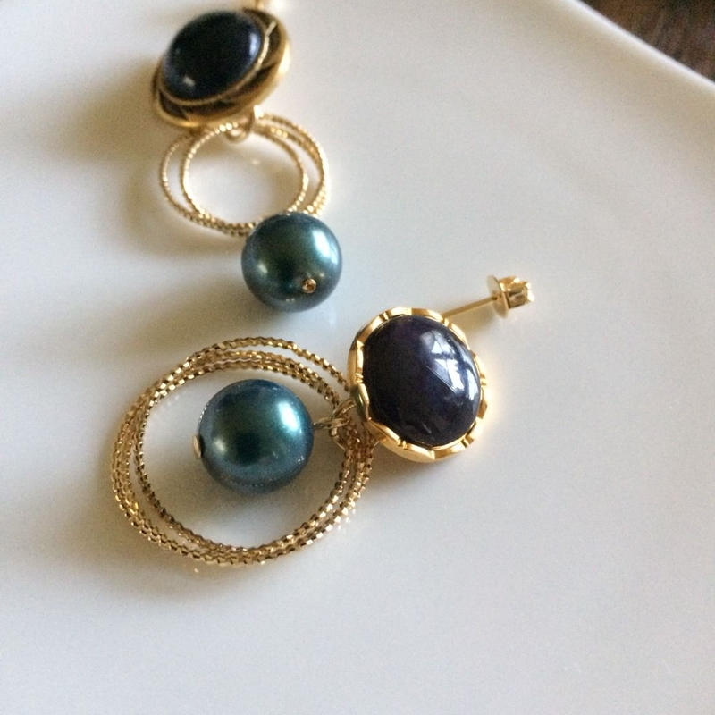 vintage button&pearls pierce