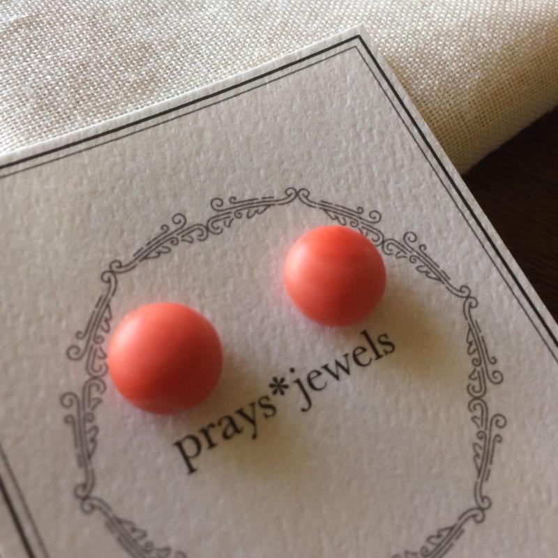 コーラルオレンジmagnet pierced・earringsノンホールピアス