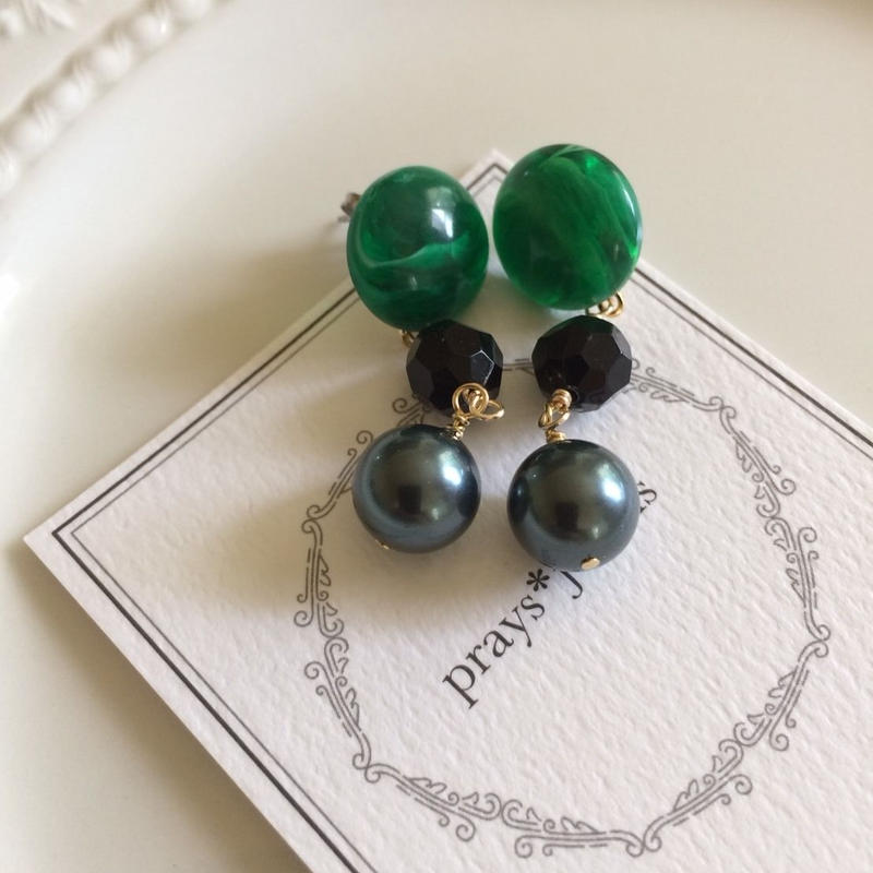 vintage jet green marble pierce