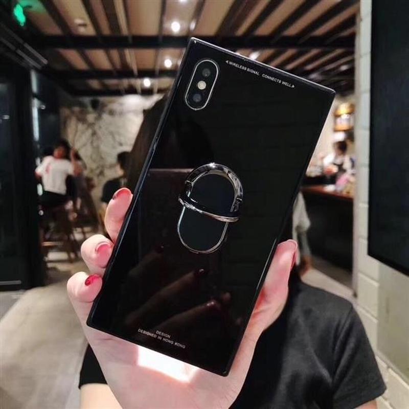 リング付き スクエアケース iPhoneケース  アイフォンケース リング スマホリング シンプル 韓国 おすすめ 流行り 人気 海外 おしゃれ  7 8 iPhone7 iPhone8