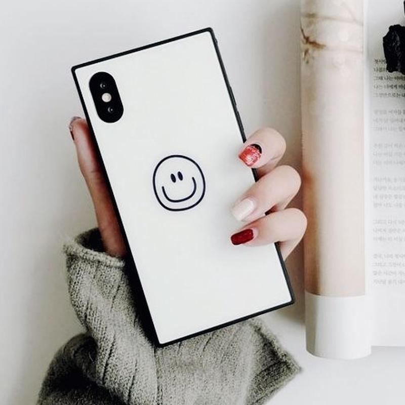 韓国 iphone ケース スクエア スマイル 白