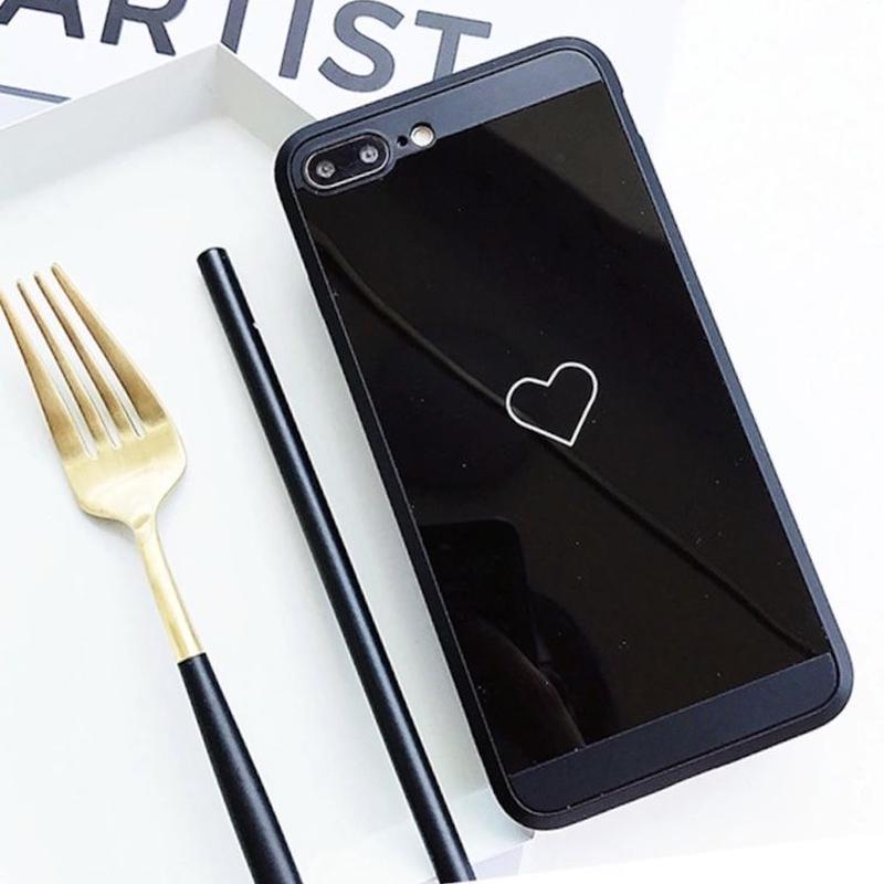 iphone 8 plus ケース かわいい ハート 黒