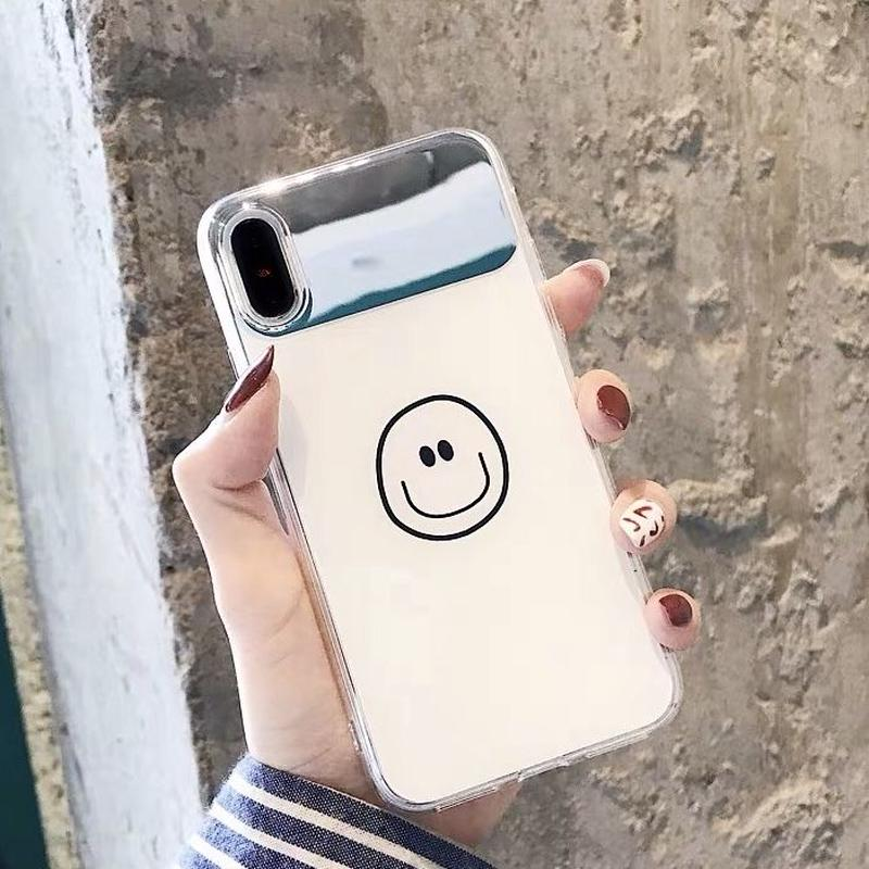 スマイル iphoneケース スマホケース アイフォンケース 人気 ニコちゃん シンプル 便利 鏡付き 鏡 ミラー ミラー付き 6 XSMAX XR iPhone6 iPhone7 iPhoneX
