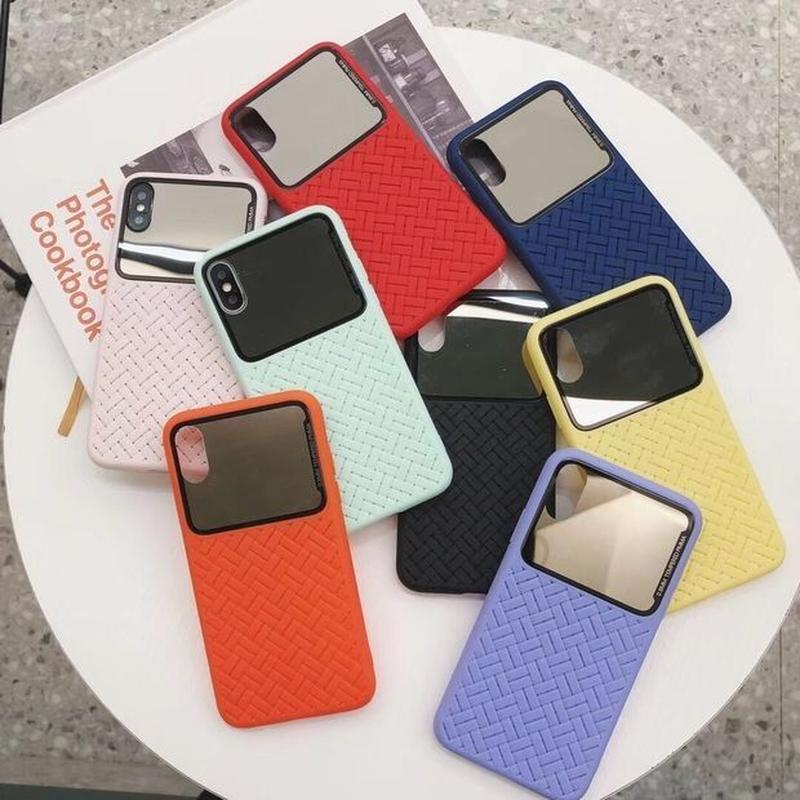ミラー付き スマホケース アイフォンケース 韓国 かわいい 流行り お洒落 海外 シンプル 便利 鏡付き ミラー付き iPhone ケース 6s 7 7Plus 8 8Plus X XS XR