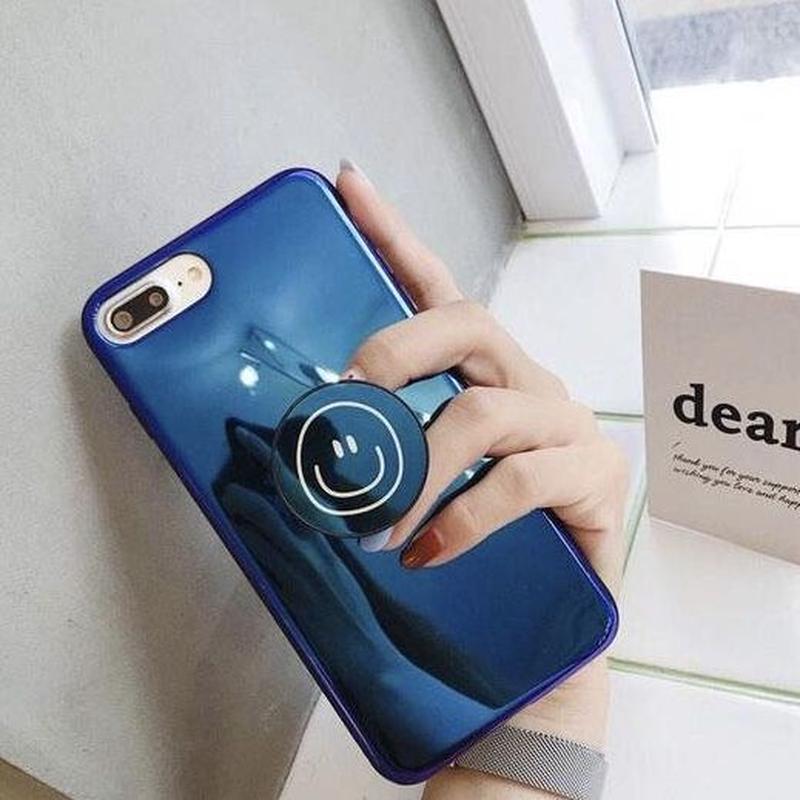 スマイリー スマホケース アイフォンケース 韓国 ニコちゃん スマイル リング付き 落下防止 リング スマホリング スマホスタンド iPhone 7Plus Plus iPhoneX iPhoneXS