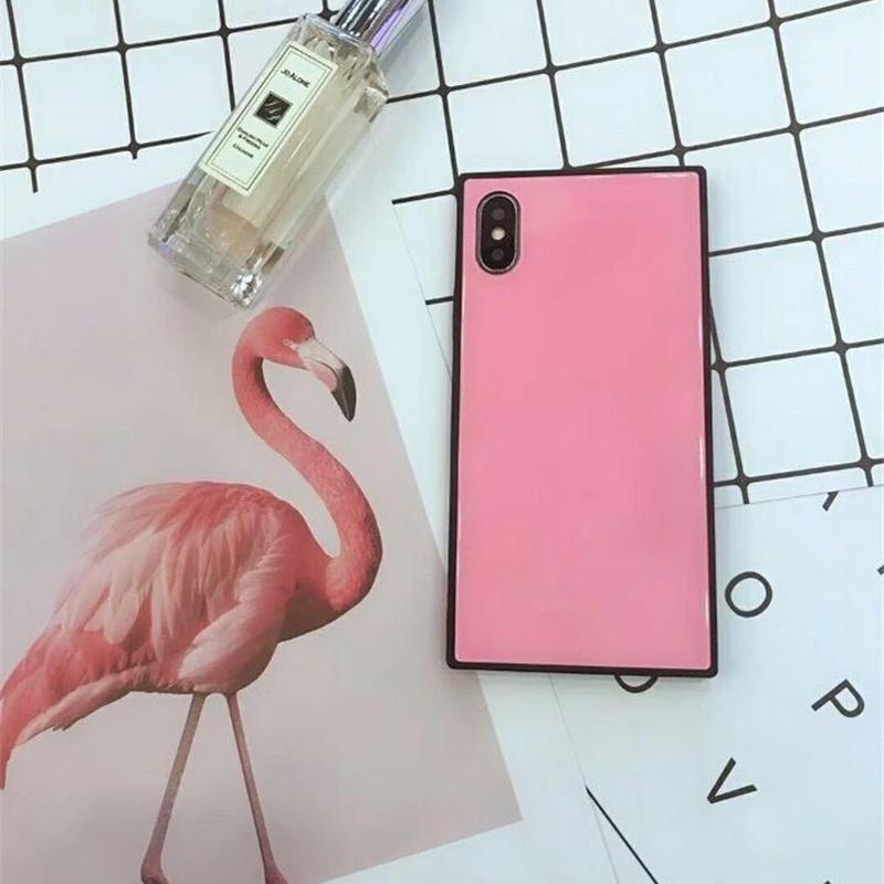 ピンク スクエアケース iPhoneケース 韓国 かわいい 流行り 人気 おすすめ おしゃれ 女子 スマホ  アイフォン シンプル plus プラス 7plus iPhoneX iPhoneXS