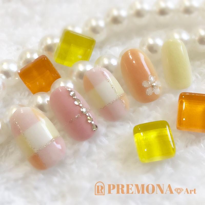 【10枚セット】ペールパステルチェック(オレンジ)/SET1090-1099